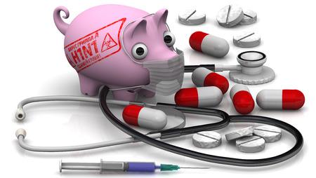 protruding eyes: Swine influenza. Influenza A virus (H1N1). Concept Stock Photo