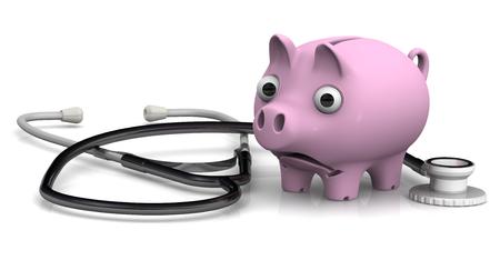 mumps: Piggy bank and stethoscope