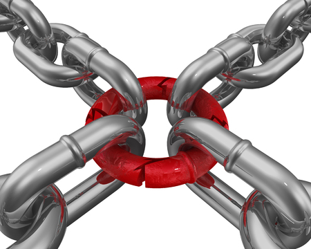 frail: Connection of chains. The weakest link Stock Photo