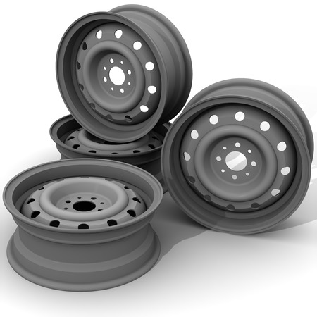 stamped: Gray car stamped discs on a white surface. Isolated. 3D Illustration
