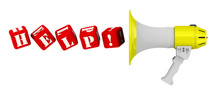 resonator: Word HELP flies out of a megaphone