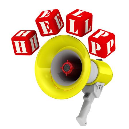 resonator: Word HELP around the megaphone