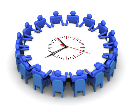The time for the meeting. Symbolic people sitting at a round table for meetings in the form of clock. Isolated. 3D Illustration