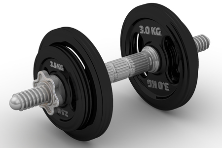 collapsible: Collapsible dumbbell on a white surface. Isolated. 3D Illustration Stock Photo