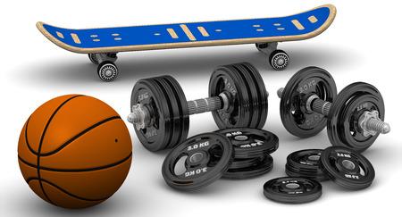 adjustable dumbbell: Dumbbells, basketball and skateboard Stock Photo