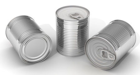 tin cans: Three tin cans without label on a white surface. Isolated. 3D Illustration