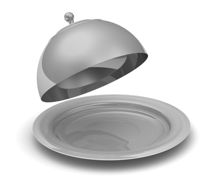 round brilliant: Open serving tray with a lid on a white surface. Isolated. 3D Illustration