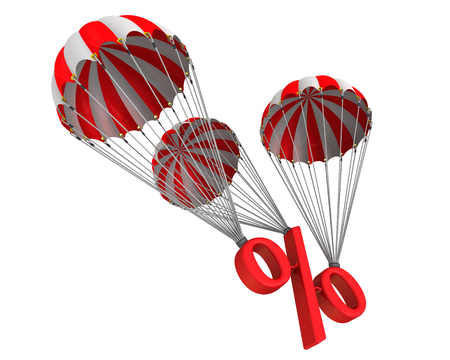 reduced: Symbol percent reduced by parachute Stock Photo