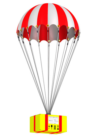 recipient: Parcel is flying on a parachute Stock Photo