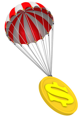 Coin with the symbol of the American dollar on a parachute