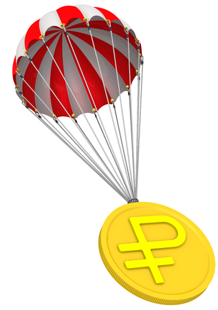 Coin with the symbol of the Russian ruble in parachute