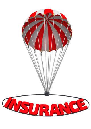 emergency braking: The word insurance on a parachute Stock Photo