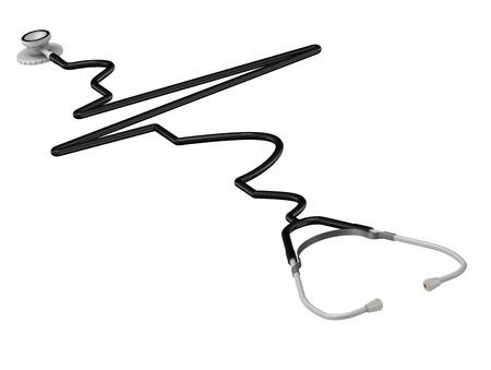 intervals: The phonendoscope stylized as electrocardiogram Stock Photo