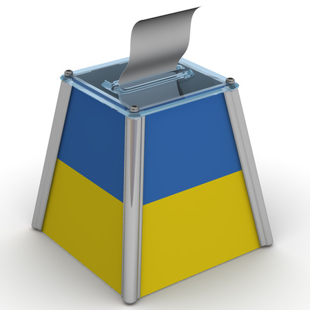 ballot papers: The ballot box with a flag of Ukraine Stock Photo
