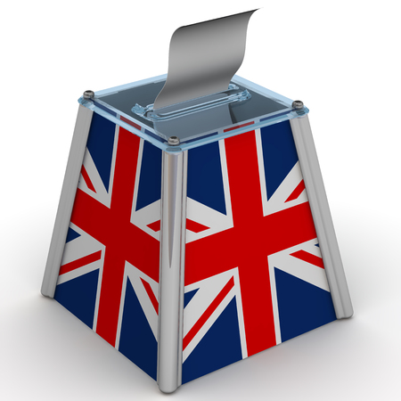 ballot papers: The ballot box with the flag of Great Britain