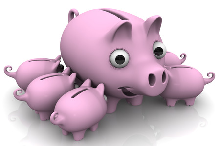 sow: Little pink pig-piggy suck a big sow. Isolated. 3D Illustration Stock Photo