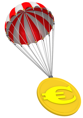 Coin with the symbol of the European currency is on parachute Stock Photo