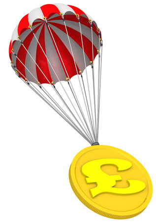 emergency braking: Coin with the symbol of the British pound sterling is flying on a parachute Stock Photo