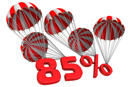 Eighty five percent is flying on parachutes Stock Photo