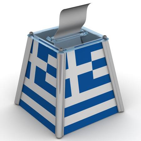 ballot papers: The ballot box with the flag of Greece