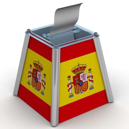 ballot papers: The ballot box with the flag of Spain