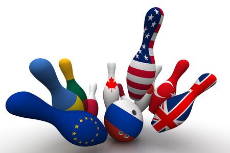 Bowling-Kugel in den Farben der Flagge der Russischen Föderation bricht die Kegelspiel mit einem Bild von den Flaggen anderer Länder. Geopolitische Konfrontation Konzept. Isoliert. 3D-Illustration Standard-Bild - 62735517