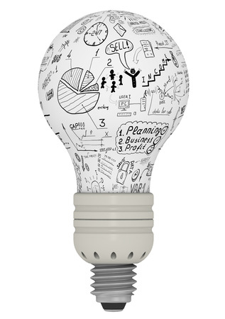 idea generation: Light bulb with business sketches. The concept of idea generation