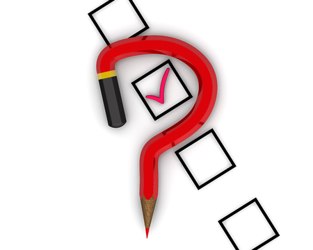 Red pencil in the shape of a question mark and a checklist with the label.  Isolated. 3D Illustration Stock Photo