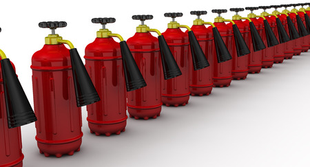 fire extinguishers: Red fire extinguishers lined up in row on a white surface. Isolated. 3D Illustration