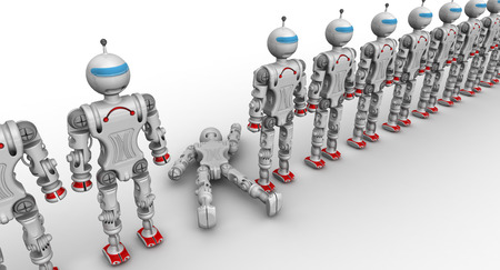faulty: Defective robot. Humanoid robots standing in a row on a white surface and a faulty robot