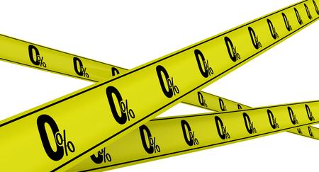 zero: Zero percent. Yellow warning tapes Stock Photo