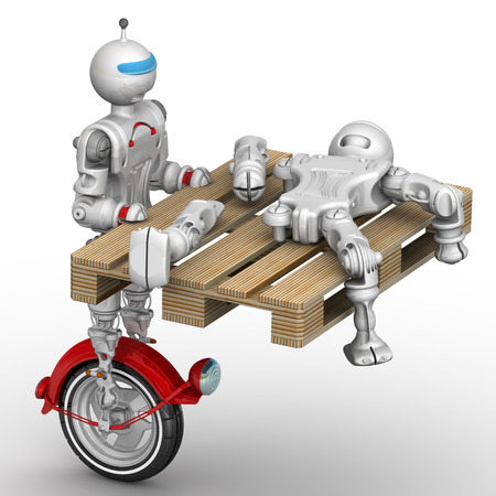 Robot transports the broken cyborg on the pallet