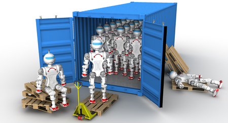 euro pallet: Robots in the cargo container. A large number of robots standing in an open freight container. Unloading or loading of the container