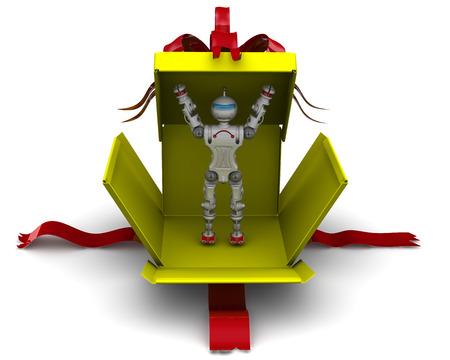 Robot as a gift. Humanoid robot breaks yellow gift box