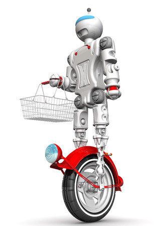 grocery basket: Robot on unicycle with grocery basket