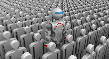 collectives: Humanoid robot among a large number of symbolic people