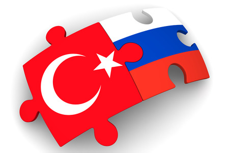 Puzzles with flags of the Russian Federation and Turkey on a white surface. The concept of coincidence of interests in geopolitics. Isolated. 3D Illustration Stock Photo
