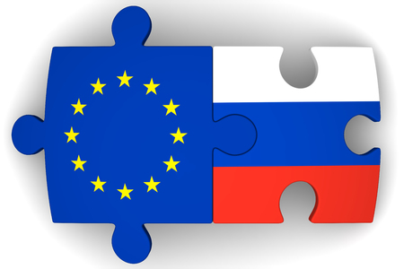 Puzzles with flags of the Russian Federation and European Union on a white surface. The concept of coincidence of interests in geopolitics. Isolated. 3D Illustration