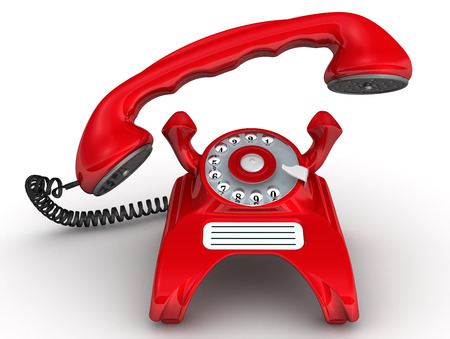 handset: Red telephone with lifted handset Stock Photo
