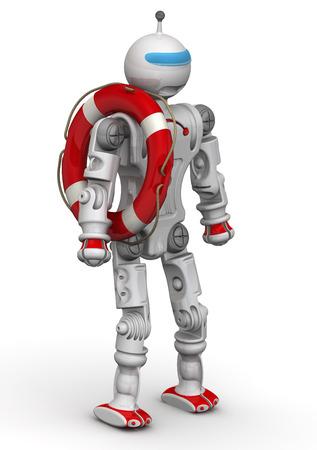 lifeline: Robot-lifeguard. Humanoid robot with a lifebuoy. Isolated. 3D Illustration