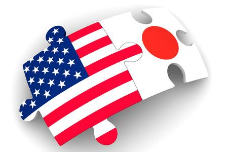 Zusammenarbeit zwischen den Vereinigten Staaten von Amerika und Japan. Konzept Standard-Bild - 64260370