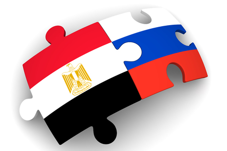 the federation: Cooperation between the Russian Federation and Egypt. Concept Stock Photo