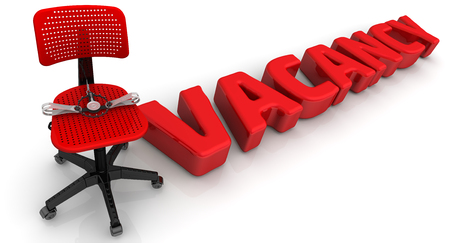 vacancy: Dangerous vacancy. Trap lies on an office chair, and the word VACANCY on the white surface Stock Photo
