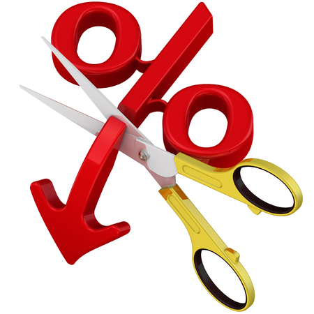 downward: Stop falling percentage. Scissors cut the arrow pointing downward at the red symbol of percentage. The concept of the cessation of falling of the interest rate Stock Photo