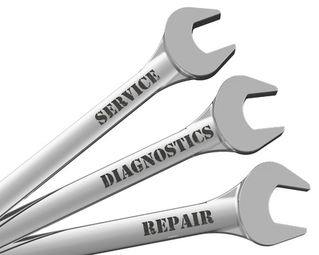 diagnostics: Service, diagnostics, repair. Inscriptions on wrenches