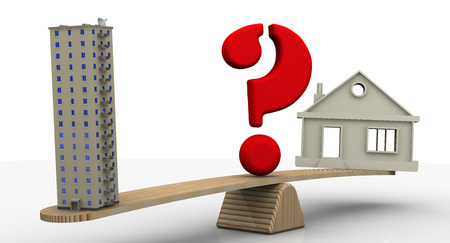 House or apartment. The concept of choice Stock Photo