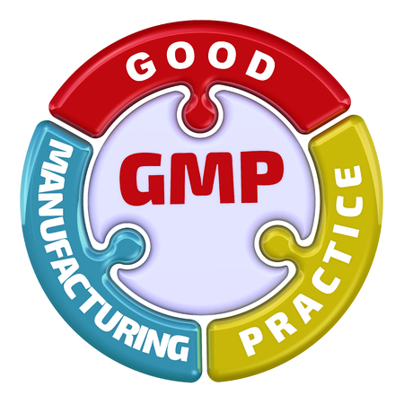 GMP. Good Manufacturing Practice. The check mark in the form of a puzzle
