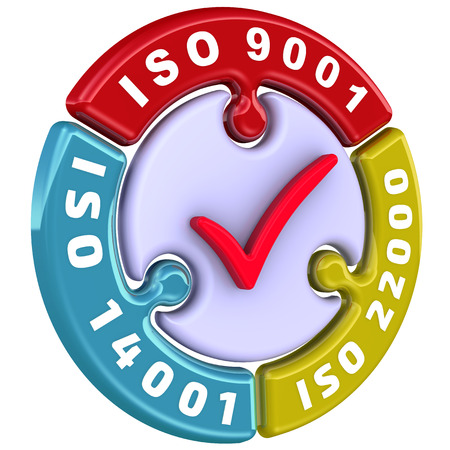 ISO 9001, ISO 14001, ISO 22000. The check mark in the form of a puzzle