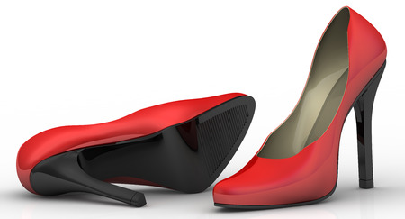 foot gear: Red womens shoes with high heels on a white surface