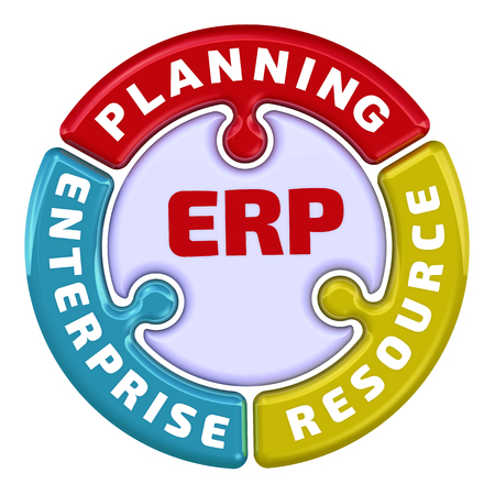 ERP. Enterprise resource planning. The check mark in the form of a puzzle 版權商用圖片